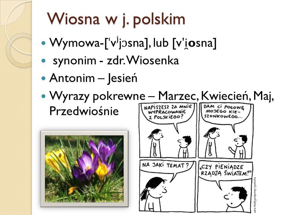 Wiosna w j. polskim Wymowa-[ˈvʲjɔsna], lub [vʹi ̯osna]